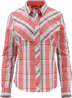 <font color=red>On Sale - Clearance</font><br>Simms Women's Big Sky LS Shirt - Dark Coral Plaid