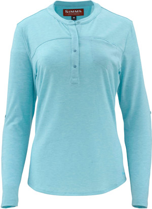 <font color=red>On Sale - Clearance</font><br>Simms Women's Drifter Tech Henley - Turquoise