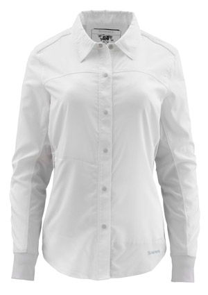 <font color=red>On Sale - Clearance</font><br>Simms Women's BiComp LS Shirt - White