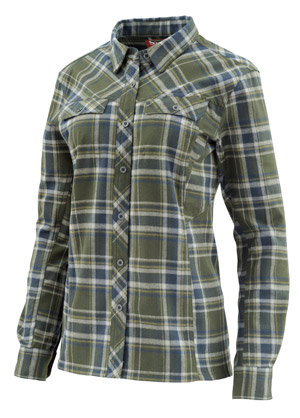 <font color=red>On Sale - Clearance</font><br>Simms Women's PrimaLoft Blend Flannel - Forest Plaid