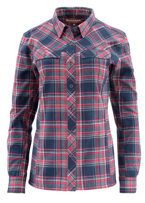 <font color=red>On Sale - Clearance</font><br>Simms Women's PrimaLoft Blend Flannel - Admiral Blue Plaid
