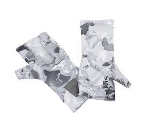 <font color=red>On Sale - Clearance</font><br>Simms Solarflex No-Finger Sunglove - Cloud Camo Grey