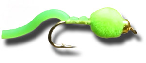 BH Egg Sucking Squiggly Worm - Fl Green