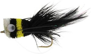 Fly Fishing Flies - Deer Hair Bass Bug - Black/Yellow