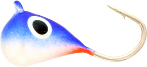 Saber Tungsten Teardrop Jig - Blue/White Fire