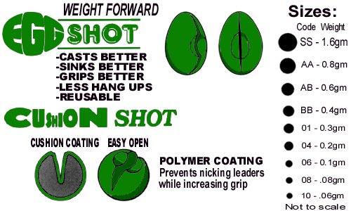 Fly fishing flies dinsmores egg shot 4 shot dispenser for Fly fishing split shot