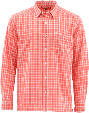 <font color=red>On Sale - Clearance</font><br>Simms Morada LS Shirt - Dark Coral Plaid