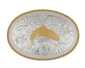 <font color=red>On Sale - Clearance</font><br>Simms Trout Belt Buckle - Silver