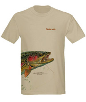 <font color=red>On Sale - Clearance</font><br>Simms Stidham T-Shirt Jumping Rainbow - SS - Lt Khaki