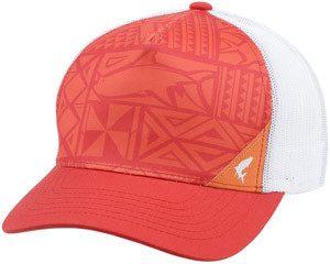 <font color=red>On Sale - Clearance</font><br>Simms Five Panel Trucker - Block Print Scarlet
