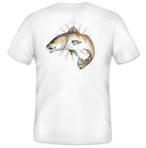 <font color=red>On Sale - Clearance</font><br>Simms Cochran Redfish Compass T-Shirt - SS - White